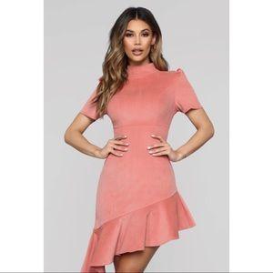 Fashion Nova asymmetrical mauve dress sz XL